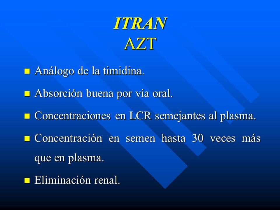 ITRAN AZT Análogo de la timidina. Absorción buena por vía oral.