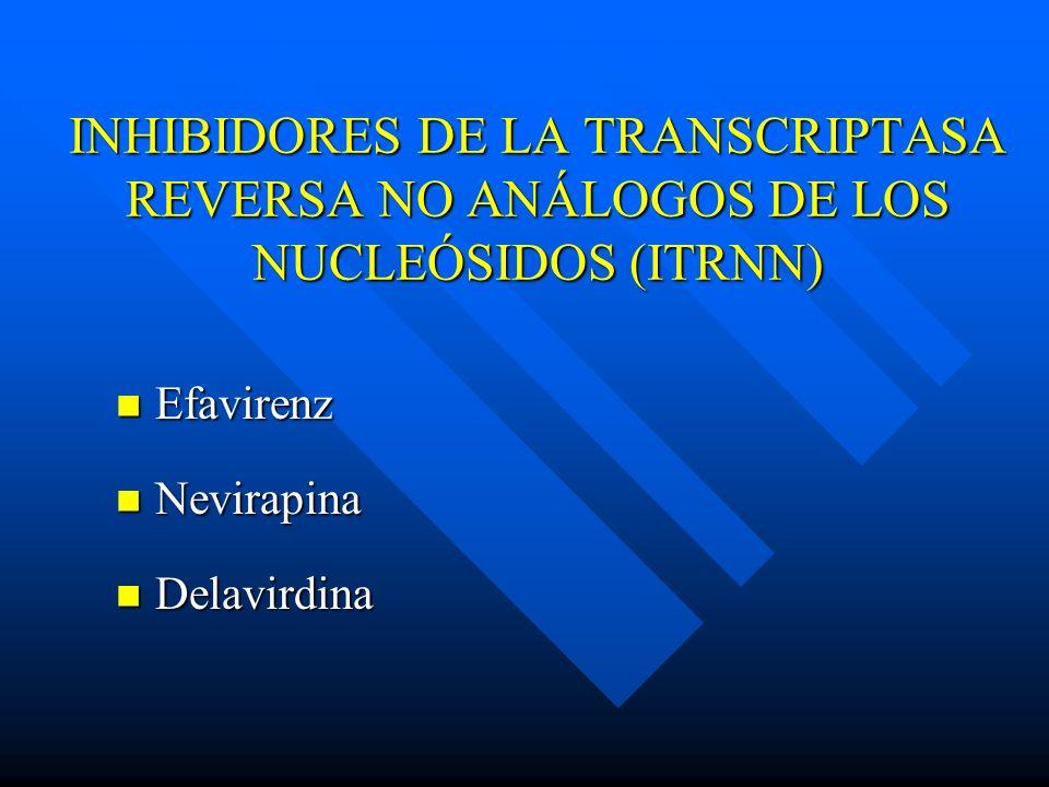 INHIBIDORES DE LA TRANSCRIPTASA REVERSA NO ANÁLOGOS DE LOS NUCLEÓSIDOS (ITRNN)