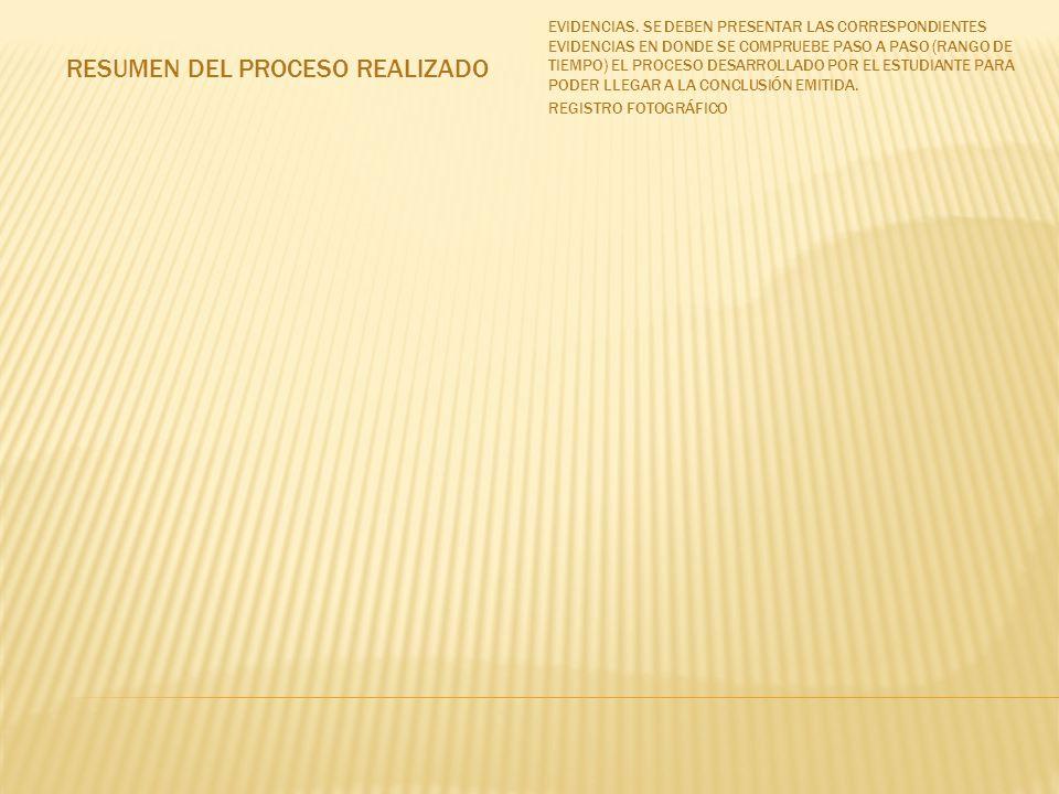 Resumen del proceso realizado