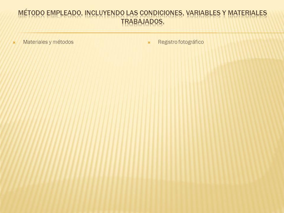 Método empleado, incluyendo las condiciones, variables y materiales trabajados.