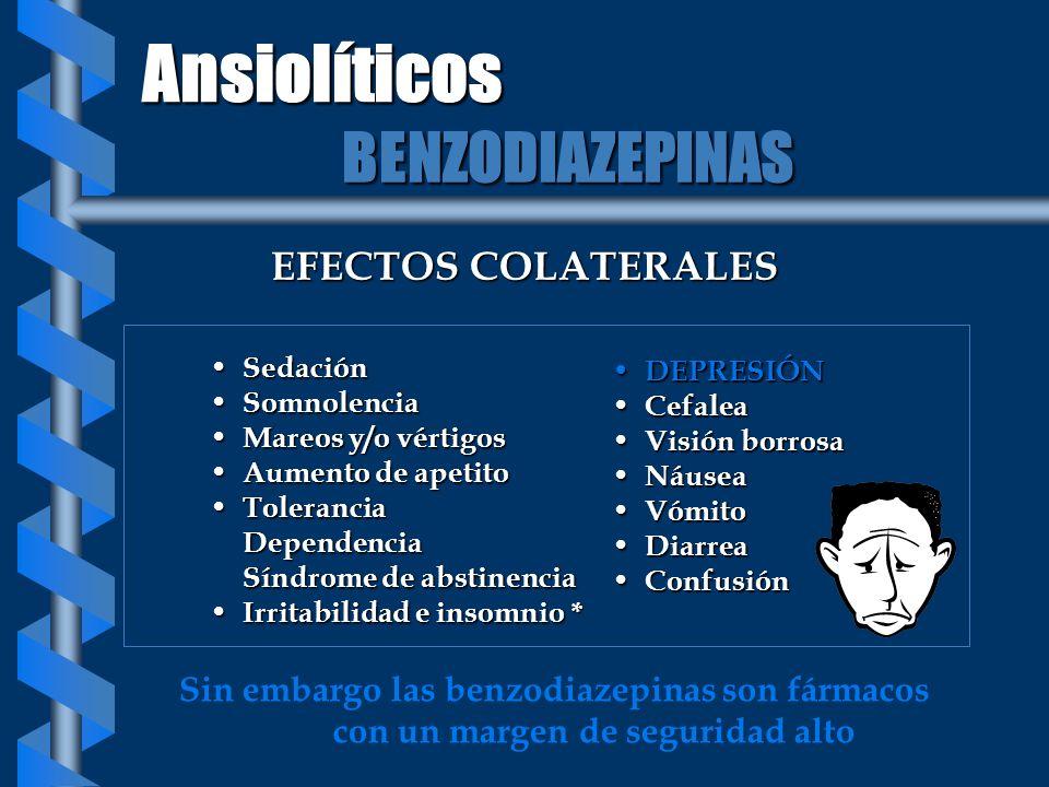 Ansiolíticos BENZODIAZEPINAS EFECTOS COLATERALES
