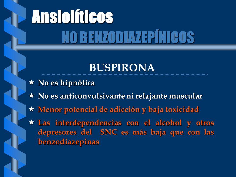 Ansiolíticos NO BENZODIAZEPÍNICOS BUSPIRONA No es hipnótica