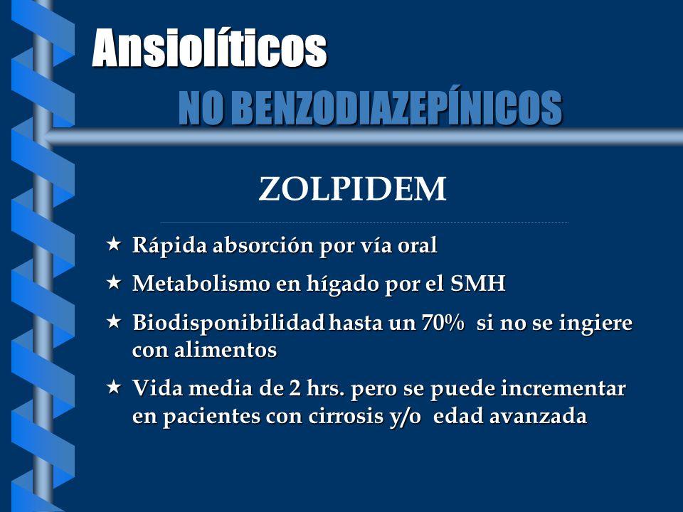 Ansiolíticos NO BENZODIAZEPÍNICOS ZOLPIDEM