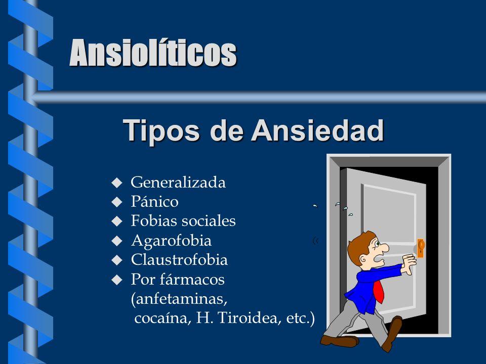 Ansiolíticos Tipos de Ansiedad Generalizada Pánico Fobias sociales