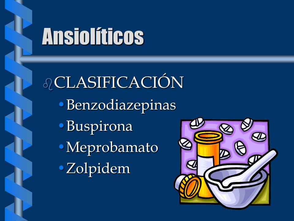 Ansiolíticos CLASIFICACIÓN Benzodiazepinas Buspirona Meprobamato