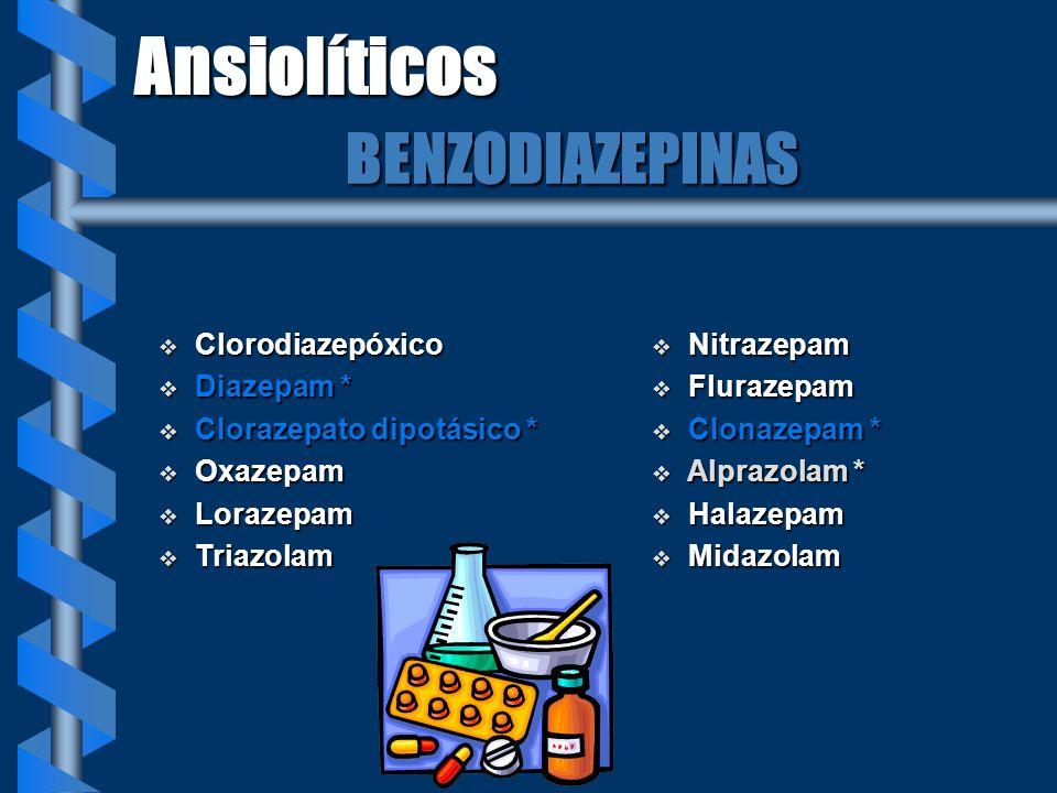 Ansiolíticos BENZODIAZEPINAS Clorodiazepóxico Diazepam *