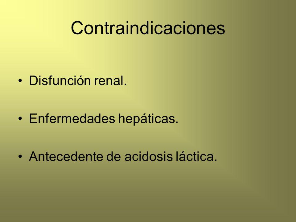 Contraindicaciones Disfunción renal. Enfermedades hepáticas.