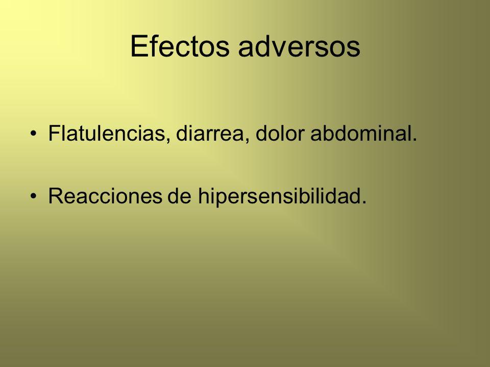 Efectos adversos Flatulencias, diarrea, dolor abdominal.