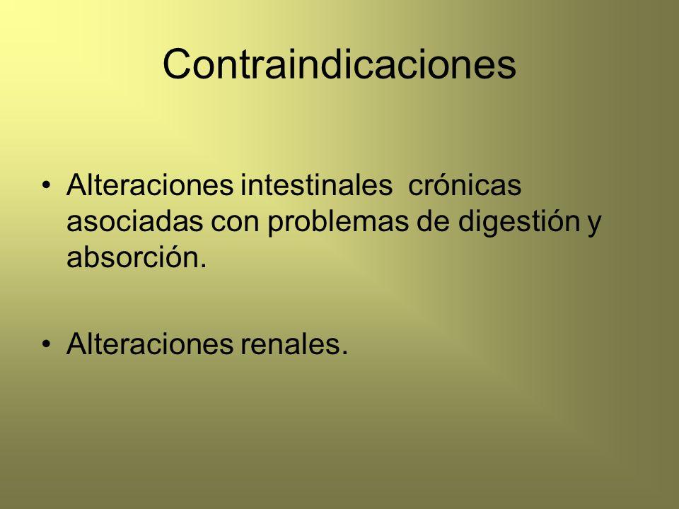 Contraindicaciones Alteraciones intestinales crónicas asociadas con problemas de digestión y absorción.