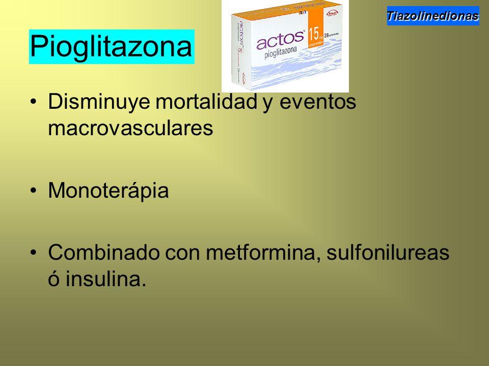 Pioglitazona Disminuye mortalidad y eventos macrovasculares