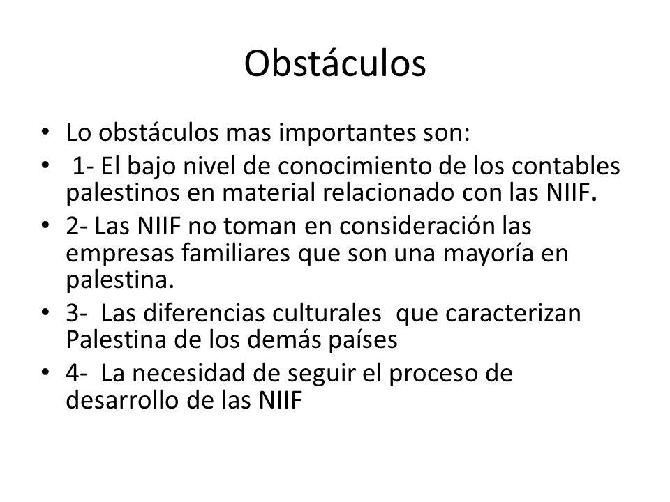 Obstáculos Lo obstáculos mas importantes son: