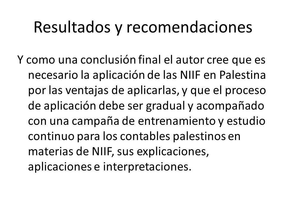 Resultados y recomendaciones