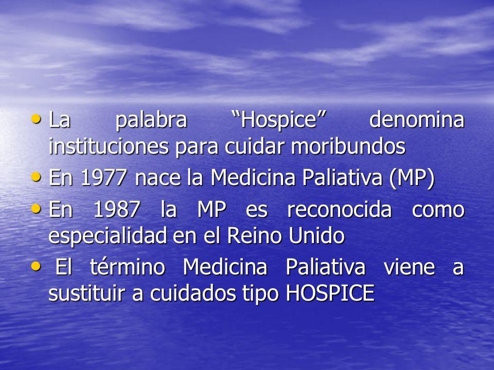 La palabra Hospice denomina instituciones para cuidar moribundos