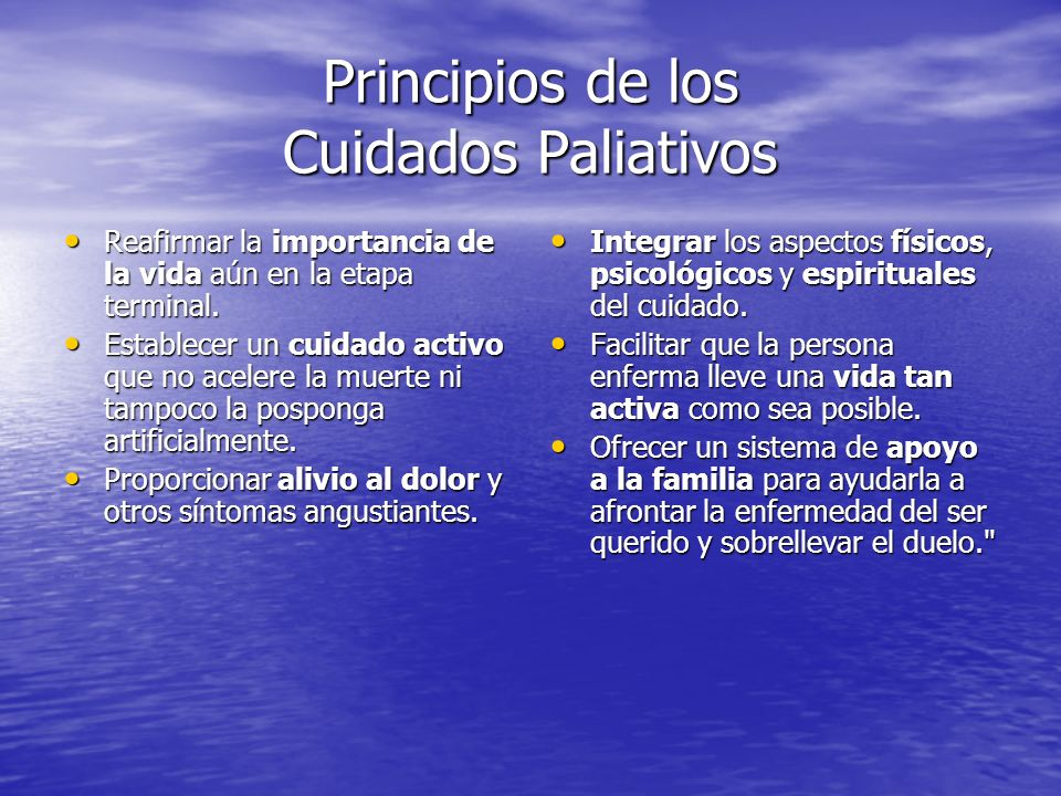 Principios de los Cuidados Paliativos
