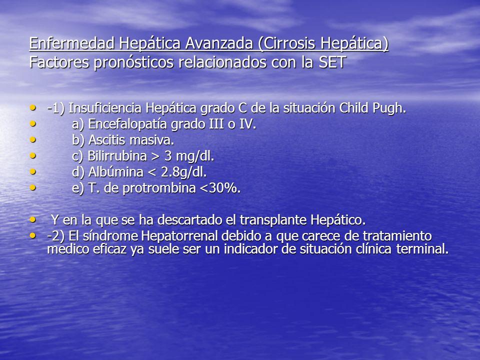 Enfermedad Hepática Avanzada (Cirrosis Hepática) Factores pronósticos relacionados con la SET