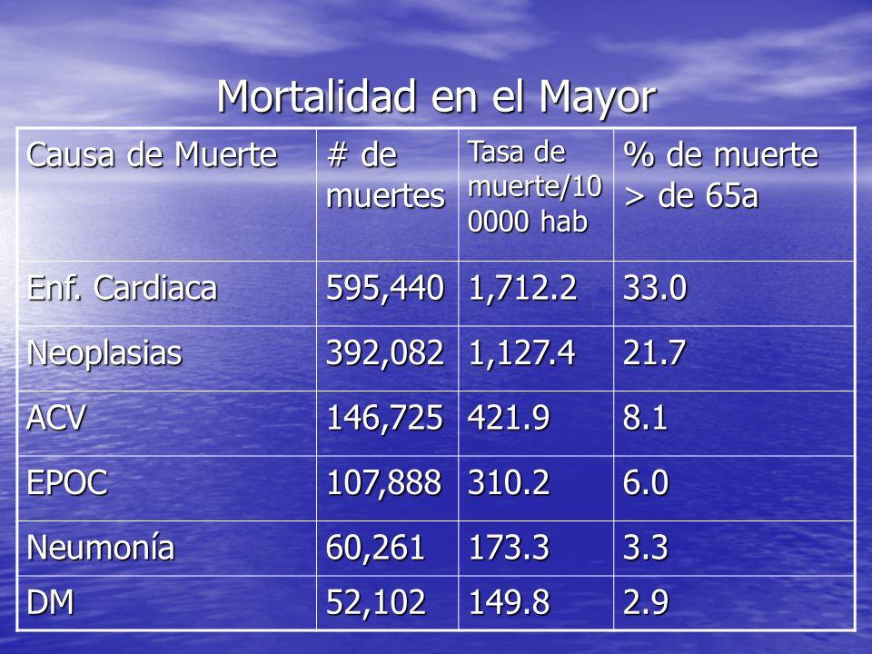 Mortalidad en el Mayor Causa de Muerte # de muertes