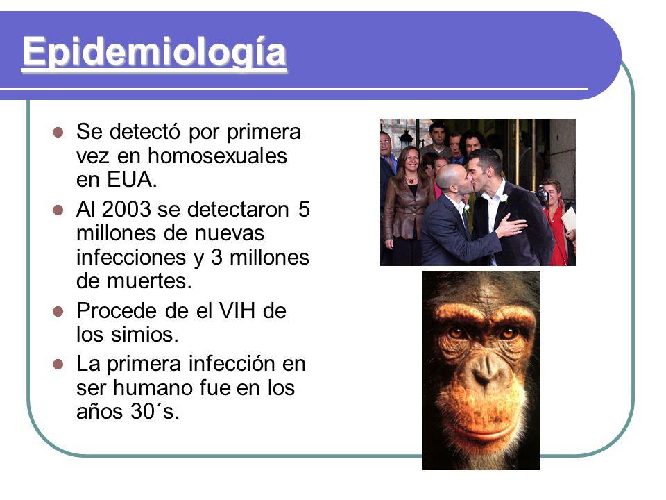Epidemiología Se detectó por primera vez en homosexuales en EUA.