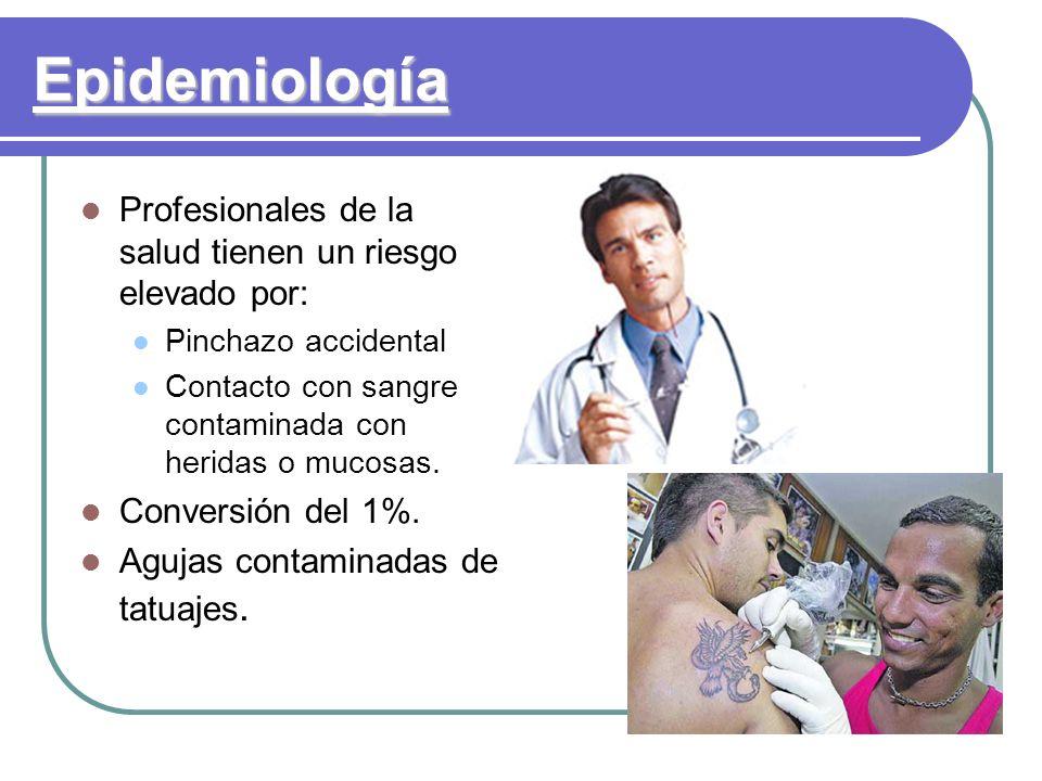 Epidemiología Profesionales de la salud tienen un riesgo elevado por: