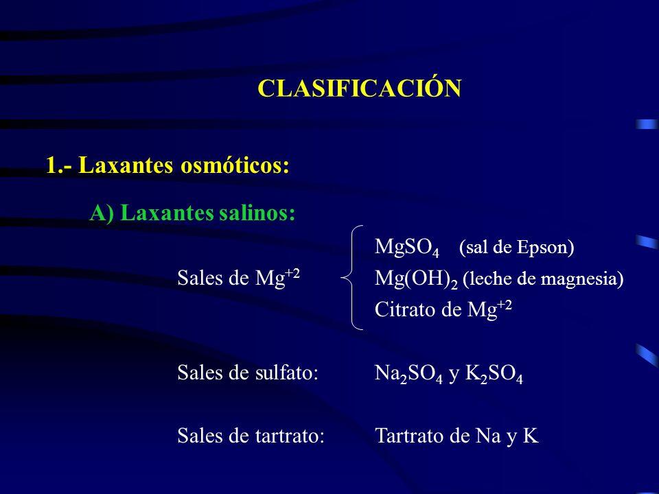 CLASIFICACIÓN 1.- Laxantes osmóticos: A) Laxantes salinos: