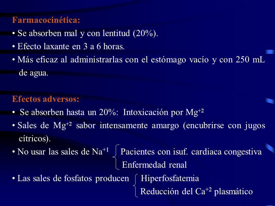 Farmacocinética: Se absorben mal y con lentitud (20%). Efecto laxante en 3 a 6 horas.