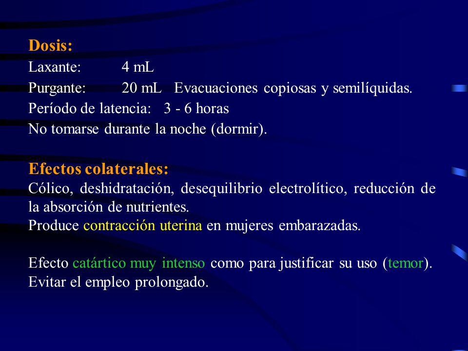 Dosis: Efectos colaterales: Laxante: 4 mL