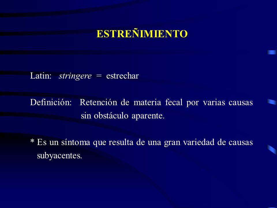 ESTREÑIMIENTO Latin: stringere = estrechar