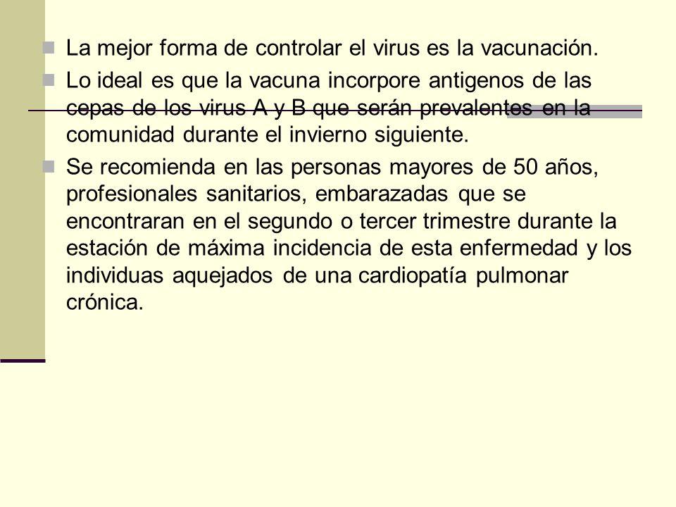 La mejor forma de controlar el virus es la vacunación.