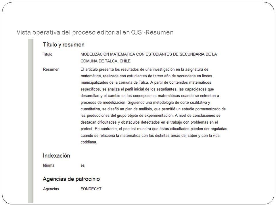Vista operativa del proceso editorial en OJS -Resumen