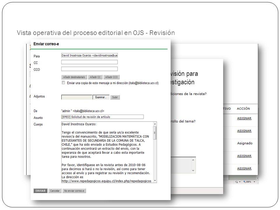 Vista operativa del proceso editorial en OJS - Revisión
