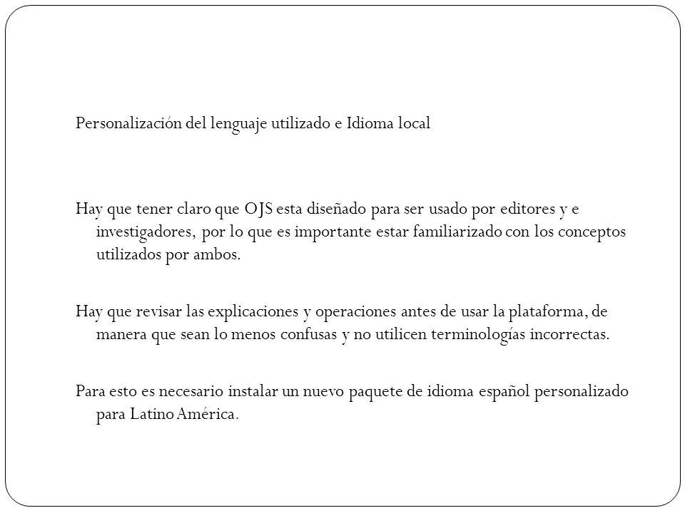 Personalización del lenguaje utilizado e Idioma local