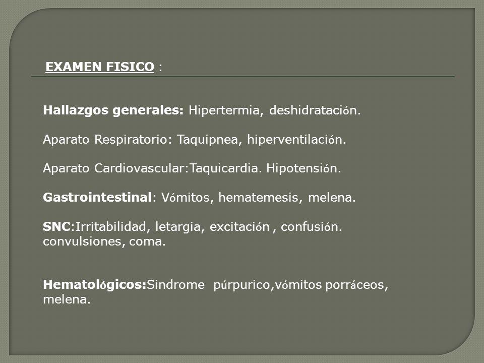 Hallazgos generales: Hipertermia, deshidratación.