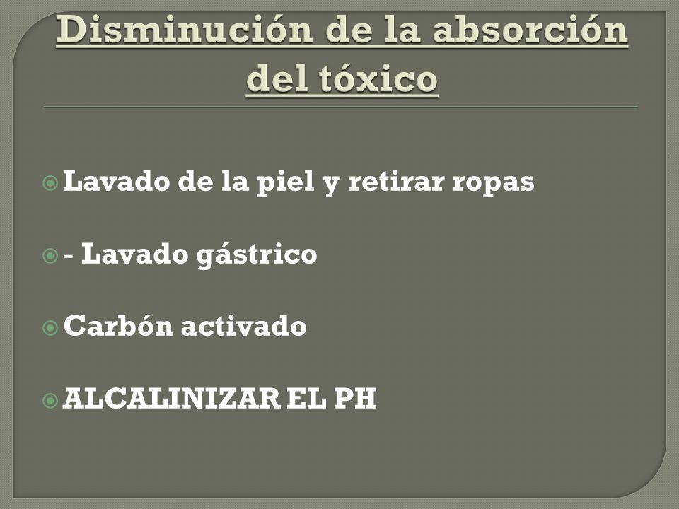 Disminución de la absorción del tóxico