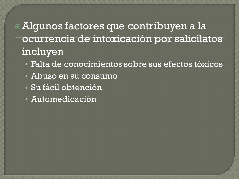 Algunos factores que contribuyen a la ocurrencia de intoxicación por salicilatos incluyen