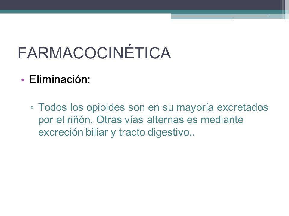 FARMACOCINÉTICA Eliminación: