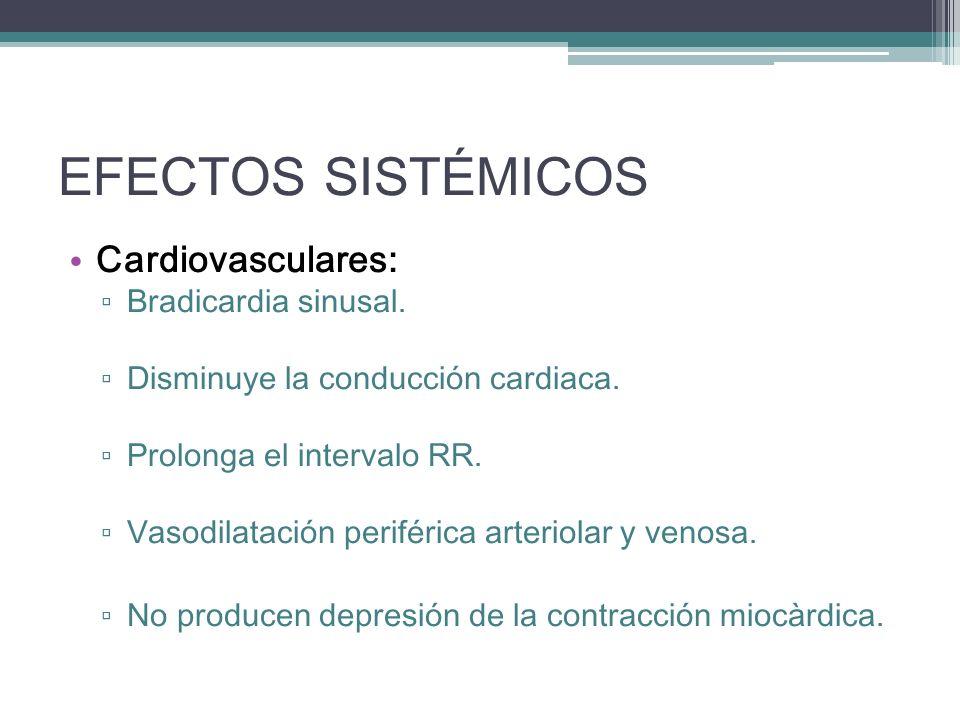 EFECTOS SISTÉMICOS Cardiovasculares: Bradicardia sinusal.