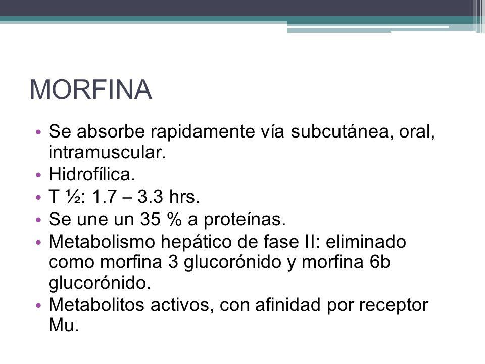 MORFINA Se absorbe rapidamente vía subcutánea, oral, intramuscular.