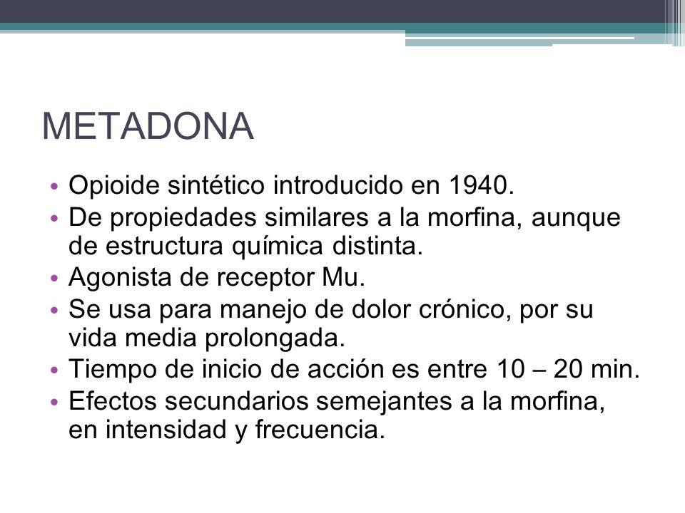 METADONA Opioide sintético introducido en 1940.