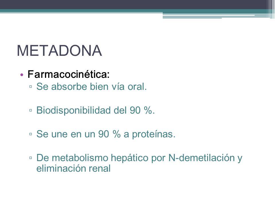 METADONA Farmacocinética: Se absorbe bien vía oral.