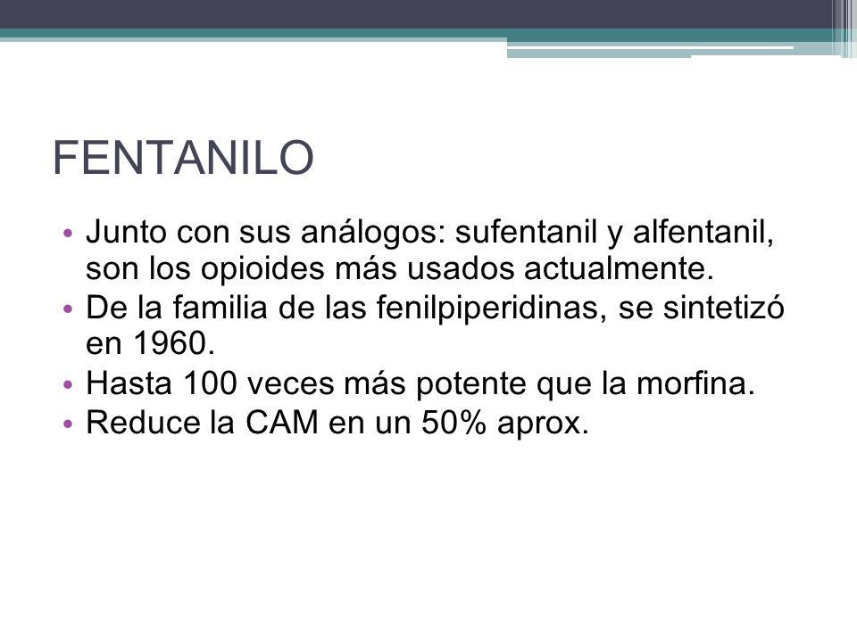 FENTANILO Junto con sus análogos: sufentanil y alfentanil, son los opioides más usados actualmente.