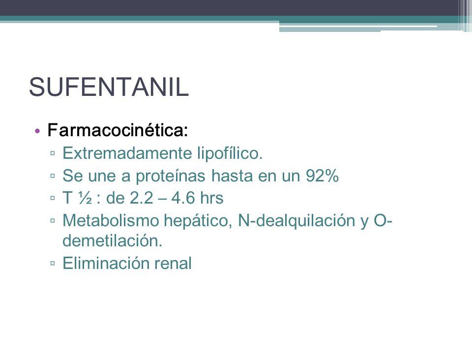 SUFENTANIL Farmacocinética: Extremadamente lipofílico.