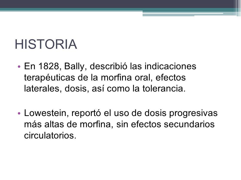 HISTORIA En 1828, Bally, describió las indicaciones terapéuticas de la morfina oral, efectos laterales, dosis, así como la tolerancia.