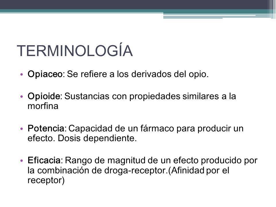 TERMINOLOGÍA Opiaceo: Se refiere a los derivados del opio.