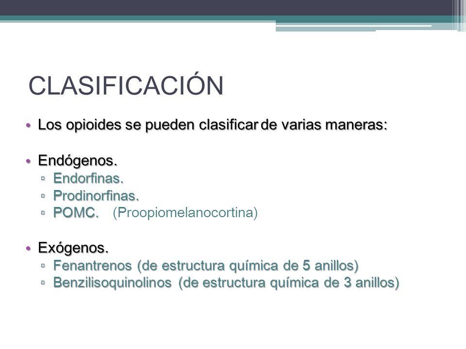 CLASIFICACIÓN Los opioides se pueden clasificar de varias maneras: