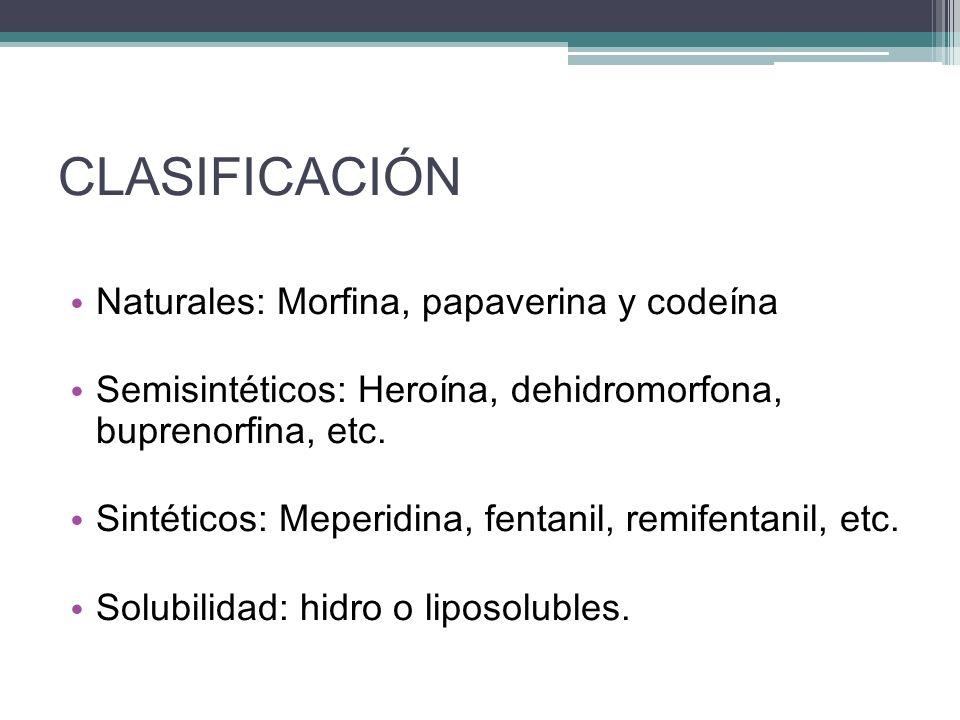 CLASIFICACIÓN Naturales: Morfina, papaverina y codeína