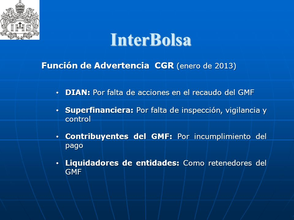 InterBolsa ­ Función de Advertencia CGR (enero de 2013)