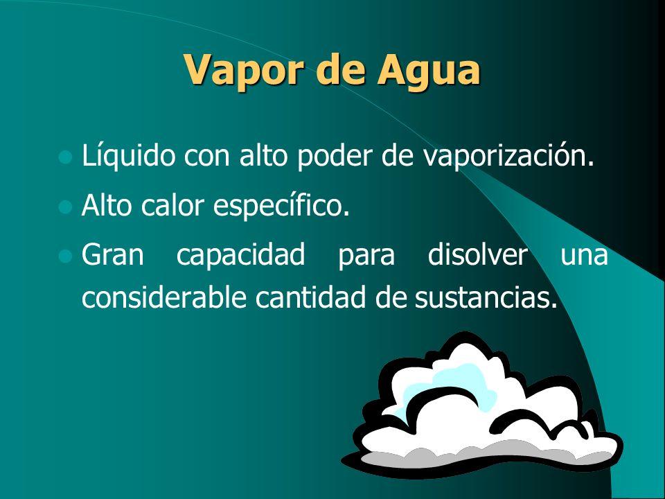 Vapor de Agua Líquido con alto poder de vaporización.