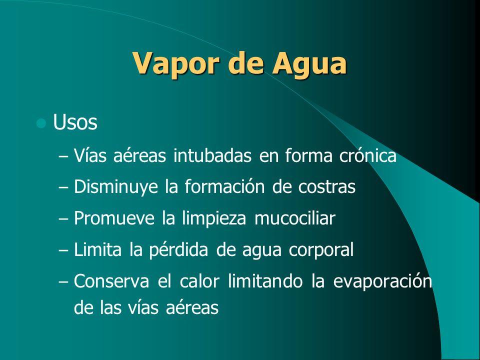 Vapor de Agua Usos Vías aéreas intubadas en forma crónica