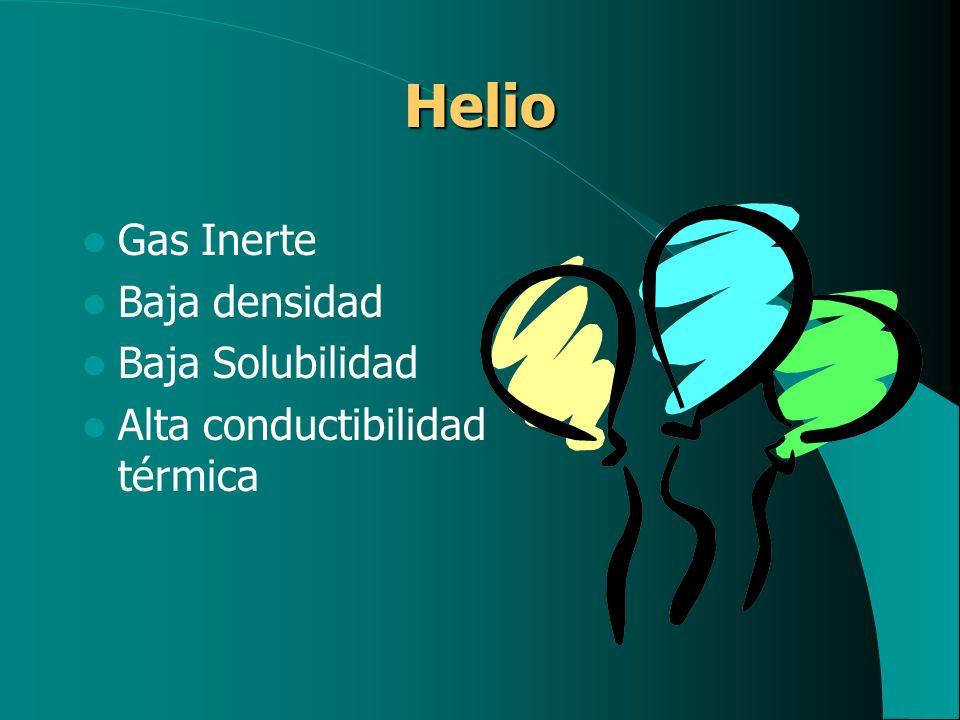 Helio Gas Inerte Baja densidad Baja Solubilidad