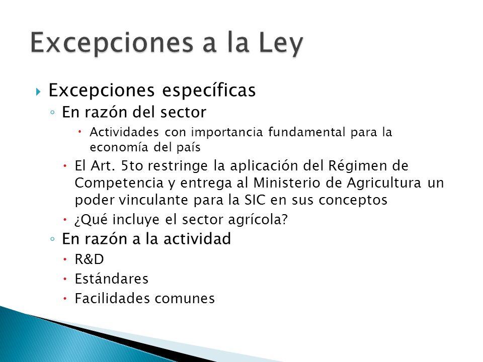Excepciones a la Ley Excepciones específicas En razón del sector