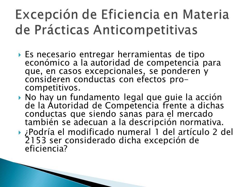 Excepción de Eficiencia en Materia de Prácticas Anticompetitivas